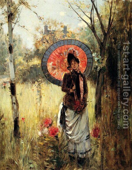 A Summer Stroll by Albert Lynch - Reproduction Oil Painting