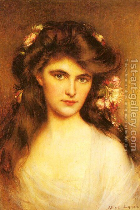 A Young Beauty With Flowers In Her Hair by Albert Lynch - Reproduction Oil Painting