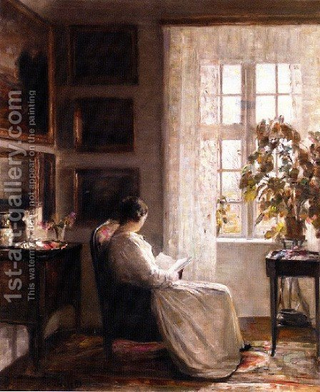 Reading In The Morning Light by Carl Wilhelm Holsoe - Reproduction Oil Painting