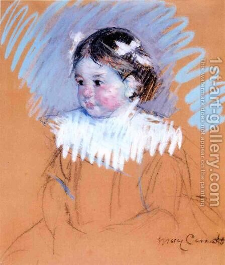 Bust Of Ellen Wiith Bows In Her Hair by Mary Cassatt - Reproduction Oil Painting