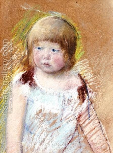 Child With Bangs In A Blue Dress by Mary Cassatt - Reproduction Oil Painting