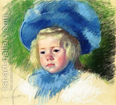 Head Of Simone In A Large Plumes Hat  Looking Left by Mary Cassatt - Reproduction Oil Painting