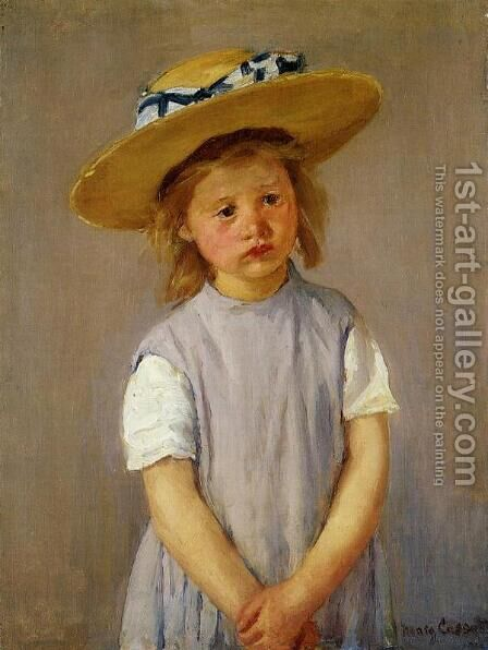 Little Girl In A Big Straw Hat And A Pinnafore by Mary Cassatt - Reproduction Oil Painting