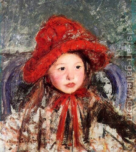 Little Girl In A Large Red Hat by Mary Cassatt - Reproduction Oil Painting