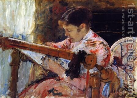 Lydia Seated At An Embroidery Frame by Mary Cassatt - Reproduction Oil Painting