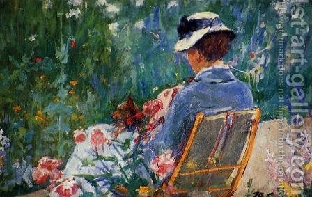 Lydia Seated In The Garden With A Dog In Her Lap by Mary Cassatt - Reproduction Oil Painting