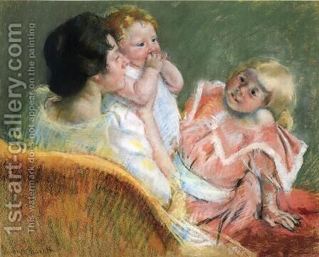 Mother And Children by Mary Cassatt - Reproduction Oil Painting