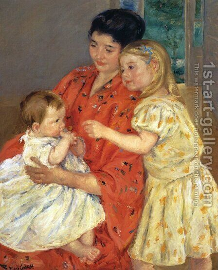 Mother And Sara Admiring The Baby by Mary Cassatt - Reproduction Oil Painting