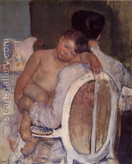 Mother Holding A Child In Her Arms by Mary Cassatt - Reproduction Oil Painting