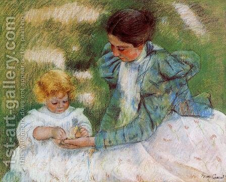 Mother Playing With Her Child by Mary Cassatt - Reproduction Oil Painting
