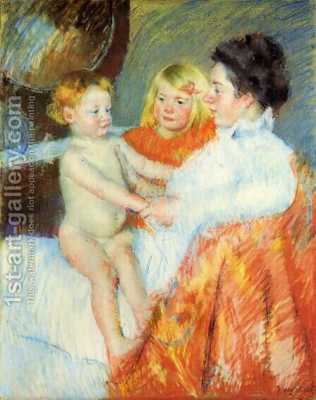Mother  Sara And The Baby by Mary Cassatt - Reproduction Oil Painting