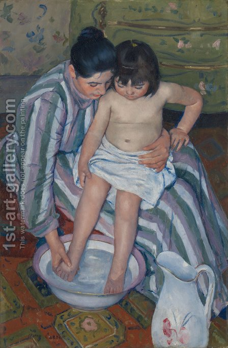 The Child's Bath (1893) by Mary Cassatt - Reproduction Oil Painting