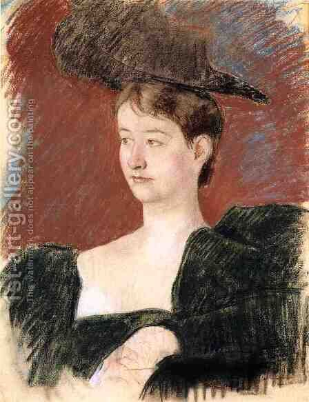 Portrait Of A Young Woman In Green by Mary Cassatt - Reproduction Oil Painting