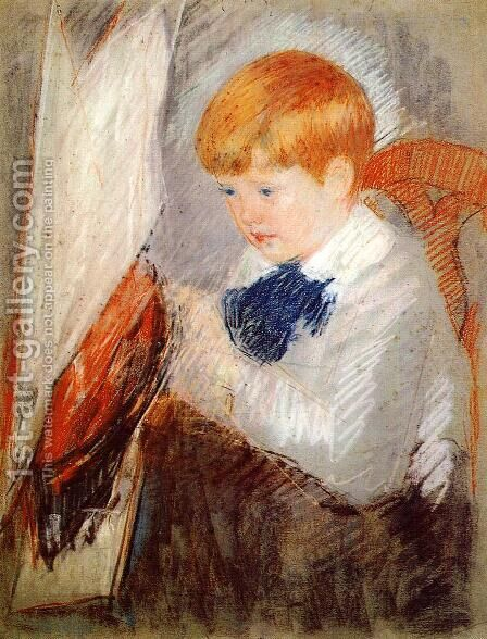Robert And His Sailboat by Mary Cassatt - Reproduction Oil Painting