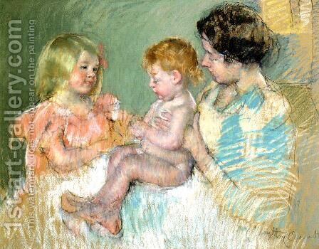 Sara And Her Mother With The Baby by Mary Cassatt - Reproduction Oil Painting