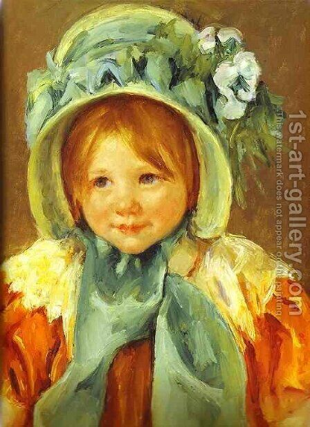 Sarah In A Green Bonnet by Mary Cassatt - Reproduction Oil Painting