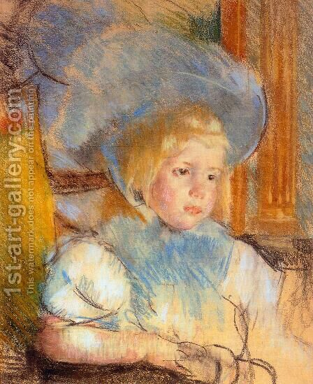 Simone In Plumed Hat by Mary Cassatt - Reproduction Oil Painting