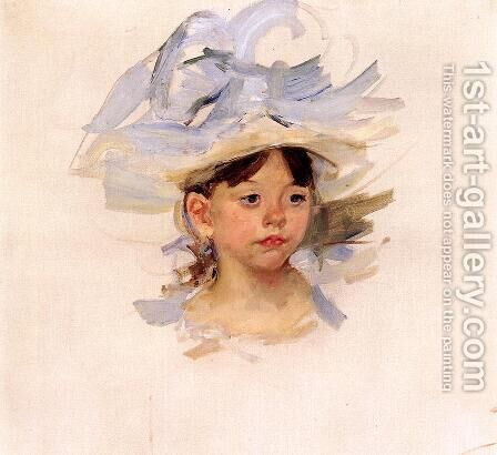 Sketch Of Ellen Mary Cassatt In A Big Blue Hat by Mary Cassatt - Reproduction Oil Painting