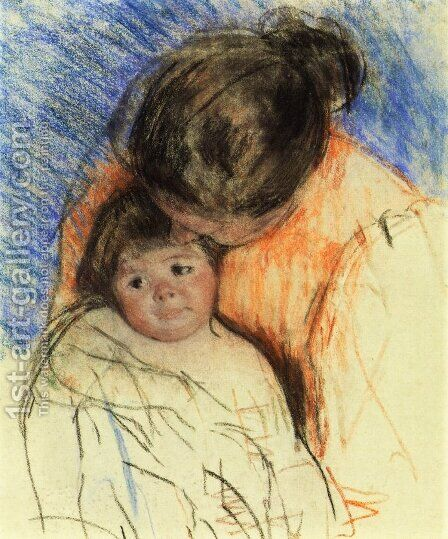 Sketch Of Mother Looking Down At Thomas by Mary Cassatt - Reproduction Oil Painting