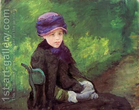 Susan Seated Outdoors Wearing A Purple Hat by Mary Cassatt - Reproduction Oil Painting