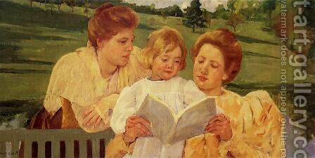 The Garden Reading by Mary Cassatt - Reproduction Oil Painting