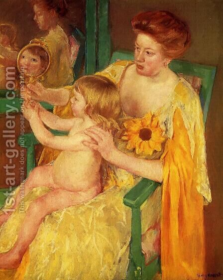 The Mirror by Mary Cassatt - Reproduction Oil Painting