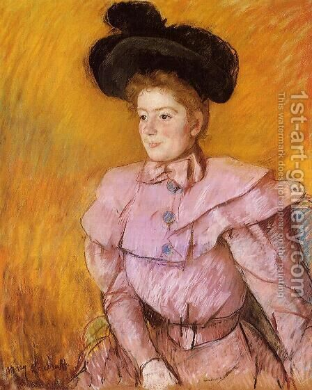 Woman In A Black Hat And A Raspberry Pink Costume by Mary Cassatt - Reproduction Oil Painting