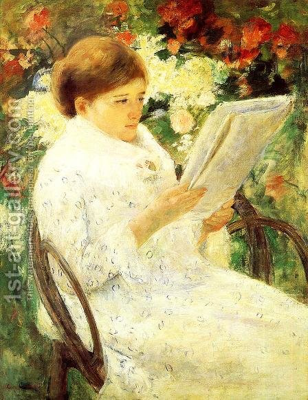 Woman Reading In A Garden by Mary Cassatt - Reproduction Oil Painting