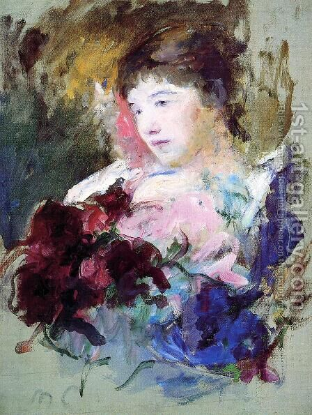 Young Girl Holding A Loose Bouquet by Mary Cassatt - Reproduction Oil Painting