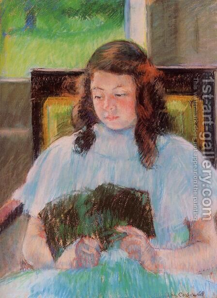 Young Girl Reading by Mary Cassatt - Reproduction Oil Painting