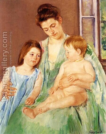 Young Mother And Two Children by Mary Cassatt - Reproduction Oil Painting