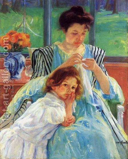 Young Mother Sewing by Mary Cassatt - Reproduction Oil Painting
