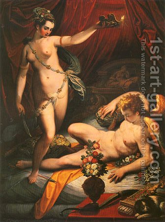 Amor and Psyche by Jacopo Zucchi - Reproduction Oil Painting