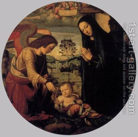Adoration of the Child with Angel 1497 by Mariotto Albertinelli - Reproduction Oil Painting