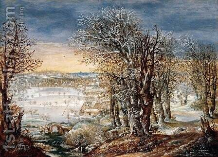 Winter Landscape in the Fôret de Soignes, with the Flight Into Egypt by Denys Van Alsloot - Reproduction Oil Painting