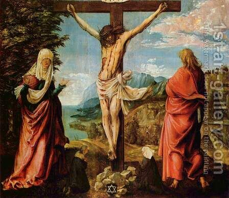 Christ on the Cross between Mary and St John 1512 by Albrecht Altdorfer - Reproduction Oil Painting
