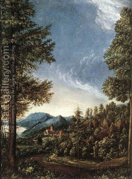 Danubian Landscape 1520 by Albrecht Altdorfer - Reproduction Oil Painting