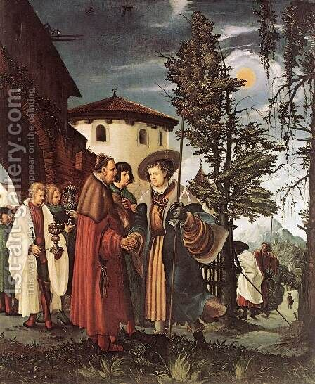 St Florian Taking Leave of the Monastery 1530 by Albrecht Altdorfer - Reproduction Oil Painting