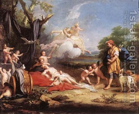 Venus and Adonis by Jacopo (Giacomo) Amigoni - Reproduction Oil Painting