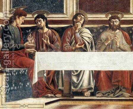 Last Supper (detail 1) 1447 by Andrea Del Castagno - Reproduction Oil Painting