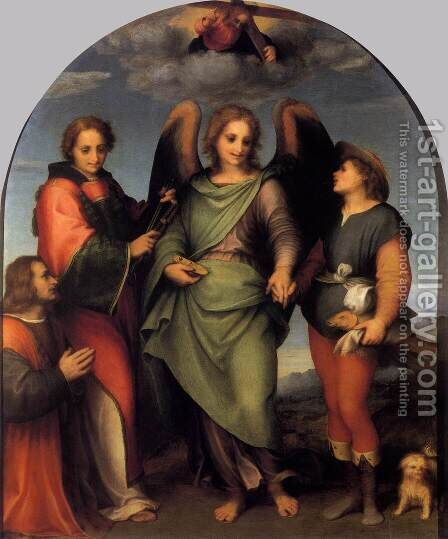 Tobias and the Angel with St Leonard and Donor 1512 by Andrea Del Sarto - Reproduction Oil Painting