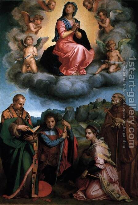 Virgin with Four Saints 1530 by Andrea Del Sarto - Reproduction Oil Painting