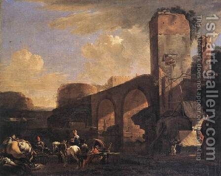 Italianate Landscape with a River and an Arched Bridge c. 1648 by Jan Asselyn - Reproduction Oil Painting
