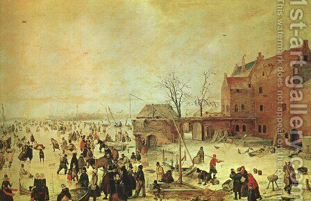 Winter Landscape by Hendrick Avercamp - Reproduction Oil Painting