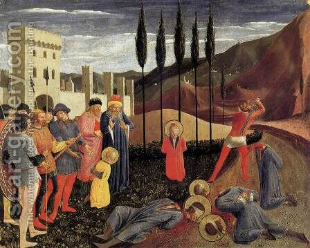 Beheading of Saint Cosmas and Saint Damian 1438 by Angelico Fra - Reproduction Oil Painting