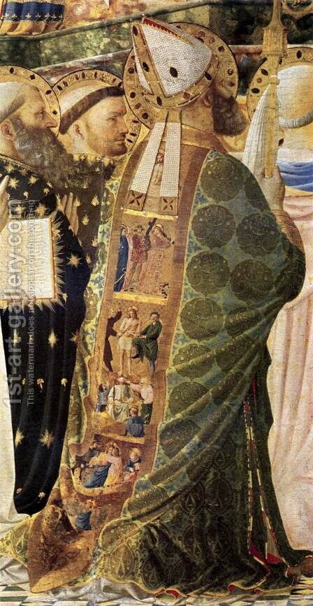 Coronation of the Virgin (detail 1) 1434 by Angelico Fra - Reproduction Oil Painting
