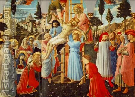 Deposition from the Cross (detail 1) 1437 by Angelico Fra - Reproduction Oil Painting