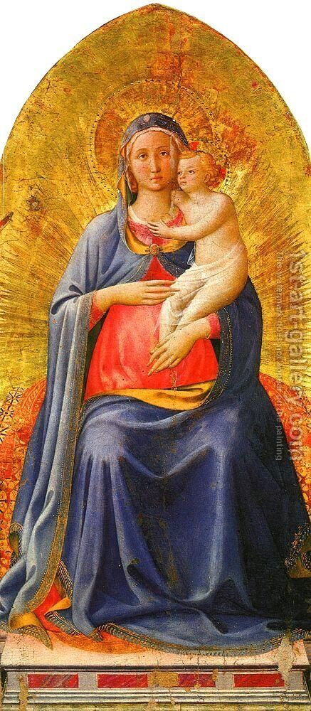 Madonna & Child, central panel of a missing polyptych, 1450 by Angelico Fra - Reproduction Oil Painting