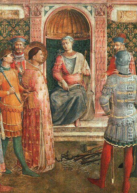 Saint Lawrence before Valerianus (with Benozzo Gozzoli), 1447-49 by Angelico Fra - Reproduction Oil Painting