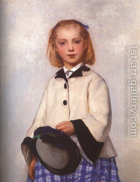 The Artist's Daughter Louise, 1874 by Albert Anker - Reproduction Oil Painting